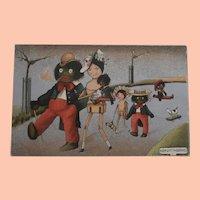 Wonderful Early Peg Doll and Black Cloth Doll Family Postcard