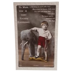 1932 Postcard of Boy with Toy Elephant and Tiger