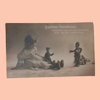 Early Postcard, Girl with Two Steiff Soldier Dolls