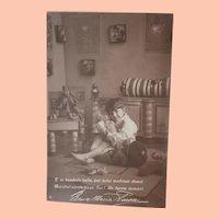 Early Italian Postcard Lenci Type Doll, Jester.