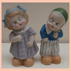 Unusual Vintage Bisque Doll Googly Pair