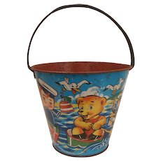 Vintage Chad Valley Large Size Metal  Sand Pail, Bucket