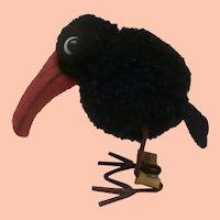 Steiff Wool Pompom Raven, Steiff Button, 1949 to 1958