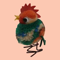 Steiff Wool Pompom Rooster No Ids 1959 to 1964