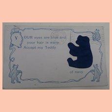 Wonderful Blue Material Teddy Bear Postcard 1908