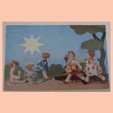 Rare Lenci Postcard, Children Lenci Dolls, 1932