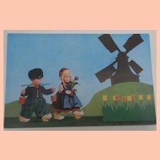 Rare Lenci Doll Postcard 300 Series Dutch Costume, 1930's
