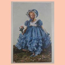 Rare Lenci Boudoir Lady Doll Postcard , 1930's
