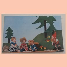 Rare Lenci Children Doll Postcard with Steiff Snik Dwarf, 1930's