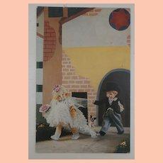 Rare Lenci Postcard with  Grumpy Lenci Dolls and  Steiff Bully Dog