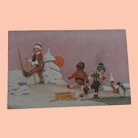 Rare Lenci Postcard, Children Lenci Dolls, Snow Sports and Steiff Penguin