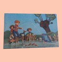 Rare Lenci Postcard with Lenci Dolls Fishing, Steiff Fish, Ducks, 1930