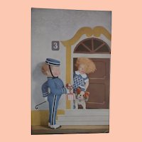 Rare Lenci Children Dolls , and Steiff Bull Dog Postcard