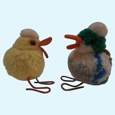 Steiff Wool Pompom Drake and Duck 1949 to 1964, No Id's