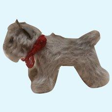 Hold C. Steiff  Tessie Schnauzer Dog, Smallest Size Steiff Button 1965 to 1970
