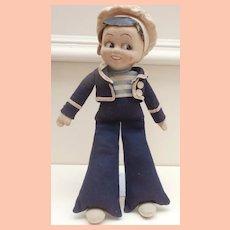 Cheeky Farnell Sailor Boy Cloth Doll, 1930's