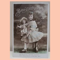 Early French Postcard Jumeau Doll and Girl