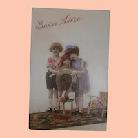 Early French Postcard with Large Doll