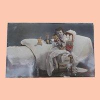 Early German Postcard, Interesting Teddy Bear ,Dolls,Toys