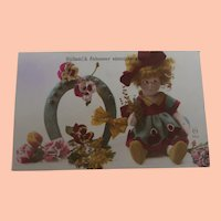 Early French Postcard with Lenci  Girl Doll