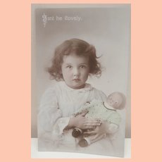 Early Postcard, Girl with Horsman Campbell Kid Doll