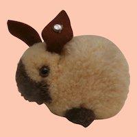 Steiff Wool Pompom Bunny Rabbit. Steiff Button, 1973 to 1981