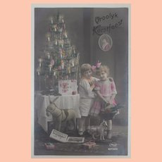 Early Christmas  Postcard , Steiff Donkey Toy ,1922