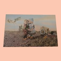 Early Italian Postcard with Lenci Doll