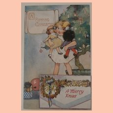 Great Early Christmas Postcard Black Cloth Doll, Pull Out Photo's