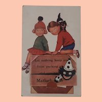 Great Early Postcard with Black Cloth Doll, Pull Out with Matlock, Bath Photo's