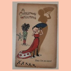 Great Christmas Postcard with Black Cloth Doll and Peg Wood Doll,1911