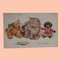 Early Postcard with Teddy and Black Cloth  Doll and Pussy Cat , 1916 A/F