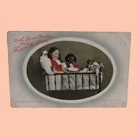 Early Postcard, Black Cloth Doll and Bisque Dolls, 1910 A/F