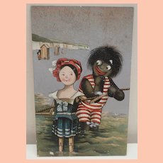 Great Early Postcard Black Cloth Doll with Peg Wooden Doll A/F