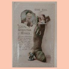 Early Christmas Santa and Peg Wood Doll Postcard