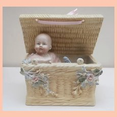 Early China Baby Doll in Posy  Basket A/F