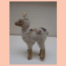 Well  Loved Steiff Llama, Lama, 1959 to 1964, Steiff Button