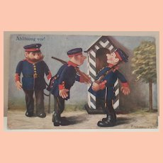 Early Comical Steiff Soldier Doll Postcard, 1916