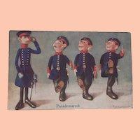 Wonderful Early Postcard, 1916, Steiff Soldier Dolls on Parade