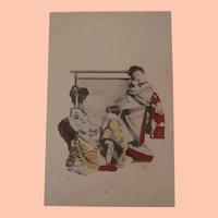 Early Postcard Geisha Girls with Japanese Doll