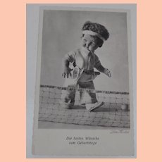 Early Lenci Type  Cloth Doll Playing Tennis