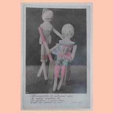 Early  Postcard Peg Wooden Dolls, 1908