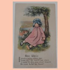 Early Postcard Raggedy Ann Type Doll 1916