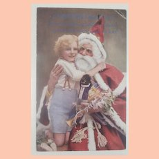 Wonderful Christmas Santa Tuck Postcard with Black Cloth Doll, 1917