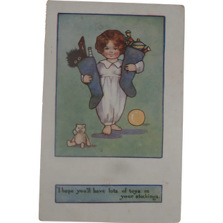Early Christmas Postcard with Teddy and Black Cloth Doll