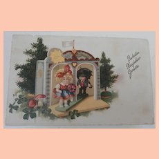 Early Lenci Type Cloth Doll Postcard, 1937