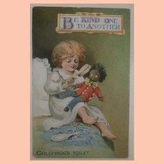 Early Postcard Black Cloth Doll Having Hair Brushed