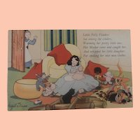 Vintage 1947 Postcard with Very Worrying Poem and Black Cloth Doll and Toys