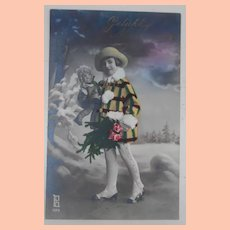 Early French Postcard, Girl with Lenci Type Doll