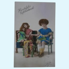 Early French Postcard, Two Beautiful Bisque Dolls, 1929